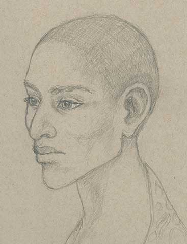 Mtendere portrait, art by Ruth Lampi